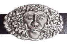 Green Man Pewter Belt Buckle - BB1237